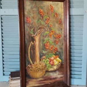 Framed Original Oil Painting Still Life W Flowers